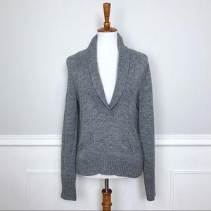 J. CREW gray alpaca & merino wool shawl sweater! L